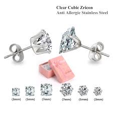 stainless steel stud earrings new style stainless steel stud earrings set six piec cz jewelry