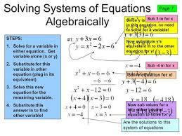 system of equations solve by substitution a system of equations