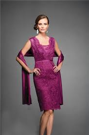 Wedding Evening Dresses V Neck Short Purple Satin Lace Mother Of The Bride Evening Dress
