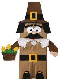 paper bag pilgrim boy puppet