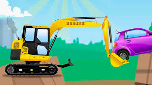 the yellow excavator kids car cartoons trucks for children learn