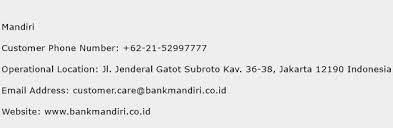 email mandiri mandiri customer service phone number contact number toll free