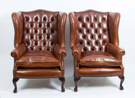 Armchairs Pair Leather Ball Claw Wing Back Chairs Armchairs Tan