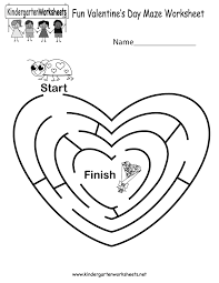 fun valentine u0027s day maze worksheet free kindergarten holiday