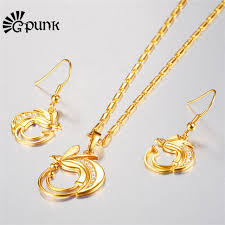earring necklace set gold images Bird of paradise earring necklace set gold color indonesia png jpg