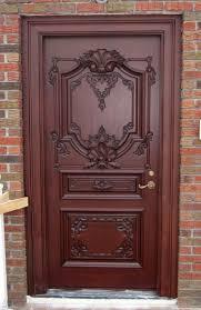 hotel low price flush wooden single door flower designs teak wood