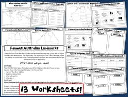 about australia geography and landmarks printable worksheets