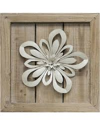 winter shopping special cutout metal flower planked wood wall