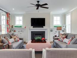 Living Room Recessed Lighting by Ceiling Fan Gray Sofa Tv Above Fireplace Pink Pillows Recessed