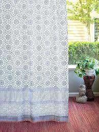 Saffron Curtains Trellis Pattern Curtains Navy Blue White Curtains Geometric