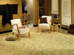 Carpet Ideas For Living Room by Flooring Black Leather Ottoman With Comfortable Beige Sofa And