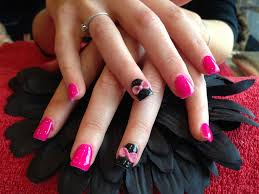 full set of acrylic nails with ping gelux gel polish black gelish