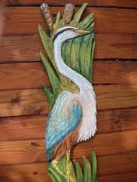 blue heron 34 detailed chainsaw carving wooden framed shore bird