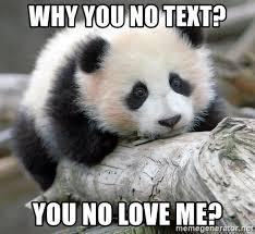 Why You No Love Me Meme - why you no text you no love me sad panda meme generator