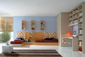 bedroom simple and neat blue and orange bedroom decoration using