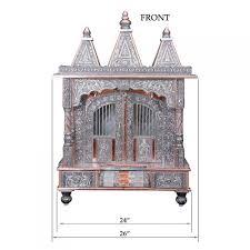 big oxidized silver pooja mandir for home and offices oc122437