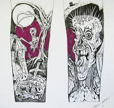 half sleeve zombie horror tattoo design photos pictures and