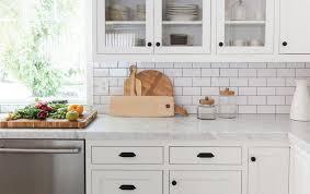 white kitchen cabinets with black subway tile backsplash 16 subway tile ideas