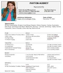 Resume Acting Template by Child Actor Sle Resume 19 Acting Template For Microsoft Word
