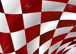 Checker Flag Red And White Checker Flag Bellowing In The Wind Royalty Free
