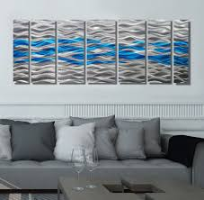 Contemporary Art Home Decor Caliente Aqua Silver U0026 Aqua Blue Abstract Metal Wall Art By Jon