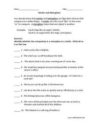 similes and metaphors 2nd 6th grade worksheet lesson planet