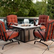 Fire Pit And Chair Set Grand Resort Oak Hill 5pc Cushion Firepit Chat Set Outdoor
