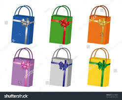 bags of bows collection vector shopping bags different colors stock vector