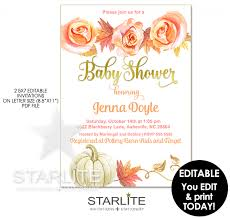 fall baby shower invitation pumpkin leaves editable instant