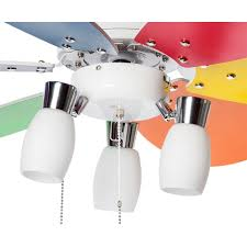 Multi Colored Ceiling Fans ceiling fan 92 cm for kids room with colorful blades and 3 spot
