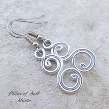 aluminum earrings aluminum earrings spiral curlique pillar of salt studio inc