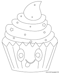cupcake coloring pages to print kawaii cupcake with stars coloring pages printable