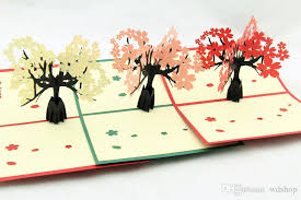 cherry blossoms trees 3d pop up greeting card handmade kirigami