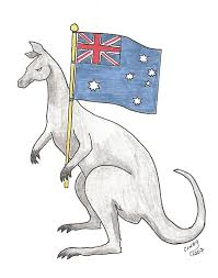 black kangaroo holding flag tattoo stencil by cwebster2003