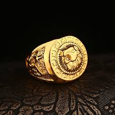 cool gold rings images 2018 fashion hip hop lion head rings 24k gold plated brand jpg