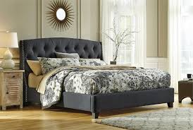 signature bedroom furniture kasidon light dark gray king tufted upholstered bed by signature