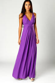 boohoo jess crossover front lace back maxi dress in purple front