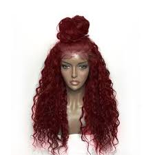 red wigs for halloween fluffy curly long lace front synthetic wig wine red in synthetic