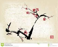 Peinture Cerisier Japonais by Peinture D U0027encre De Fleurs De Cerisier Illustration De Vecteur