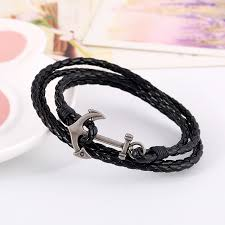 leather wrap bracelet with anchor images Punk vintage anchor leather bracelets braided multilayers leather jpg