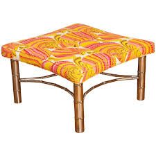 faux bamboo table legs faux bamboo ottoman with chrome legs and stretcher in emilio pucci