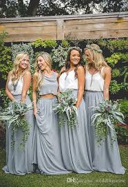 grey bridesmaid dresses 2018 two pieces bridesmaid dresses white top and light grey skirt