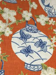 Upholstery Fabric Outlet Melbourne Blue Orange Chinoiserie Asian Lanterns Upholstery Fabric