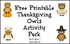 free printable thanksgiving owls activity pack rock your homeschool
