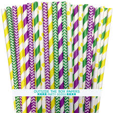 green mardi gras purple yellow and green mardi gras theme paper straws 150 pack