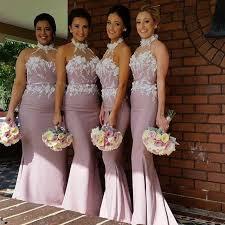 dusty pink mermaid bridesmaid dresses halter with flowers
