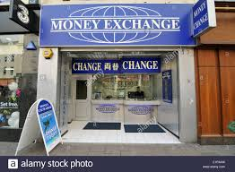 bureau de change exchange cambio bureau de change travel stock