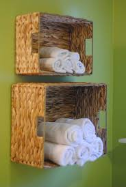 bathroom cool rustic wicker bathroom towel shelves design ideas