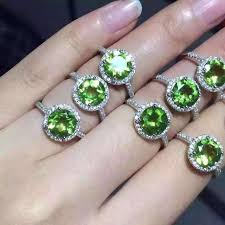 stone rings jewelry images Classic simple round natural green peridot stone ring 925 sterling jpg