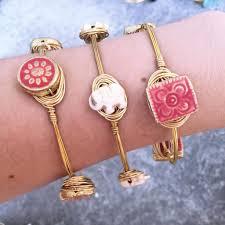 ivory elephant gold wire wrapped bangle bracelet u2013 nola boutique
